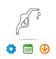 gasoline pump nozzle icon petrol station sign vector image