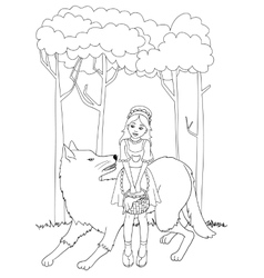 Little red riding hood with wolf outline vector image