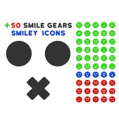 mute smile icon with bonus emoticon collection vector image