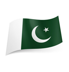 National flag of pakistan crescent moon and star vector