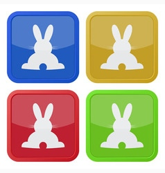set of four square icons with back Easter bunny vector image vector image
