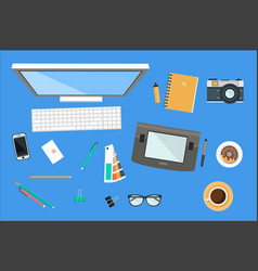 workplace of designer office equipment mobile vector image