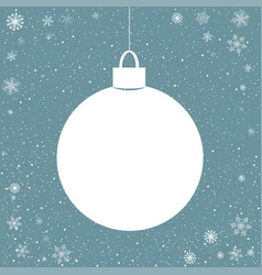 blue snowy background with paper ball vector image vector image