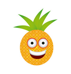 color kawaii fruit pineapple happy icon vector image