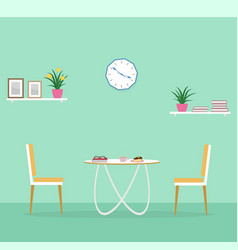 dinner room interior with coffee dessert book vector image