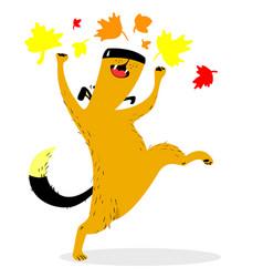fall season dog character cute pet plaing with vector image vector image