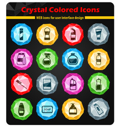 houshold chemicals icons set vector image vector image