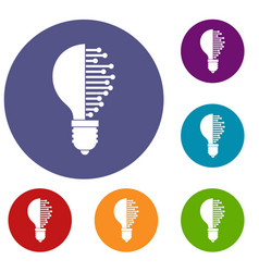 lightbulb with microcircuit icons set vector image