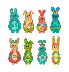 Set of cute Easter bunny vector image