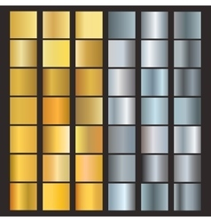 Set of silver and gold gradients vector image