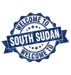 south sudan round ribbon seal vector image vector image