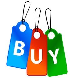 Three buy labels vector image vector image