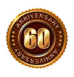 60 years anniversary golden brown label vector image vector image