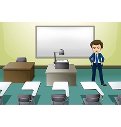 A man inside the conference room vector image vector image