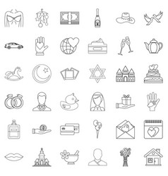 Bridegroom icons set outline style vector