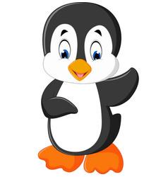 cute penguin cartoon waving vector image vector image