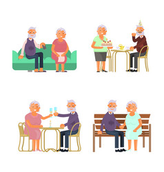 elderly people characters vector image