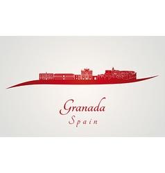 Granada skyline in red vector image vector image