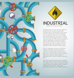 mechanical water pipeline poster vector image vector image