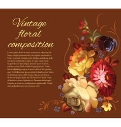 Post card with a composition of different flowers vector image vector image