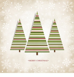 Vintage card with Christmas trees vector image vector image