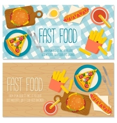 Flat design banner with fast food vector image