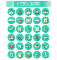 Flat round medical and healthcare icons vector image vector image