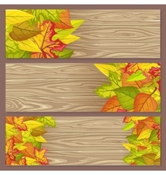 Set of Autumn Sale Flyers on Wooden Background vector image