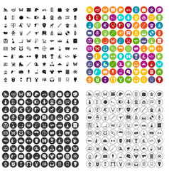 100 favorite activity icons set variant vector