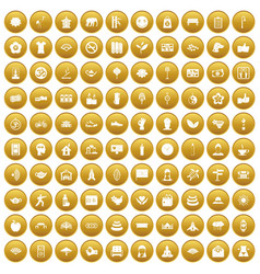 100 yoga studio icons set gold vector