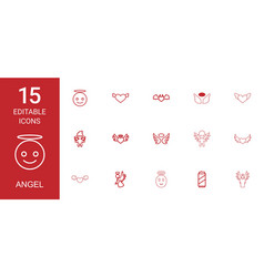 15 angel icons vector