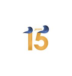 15 years anniversary celebration gold elegant vector