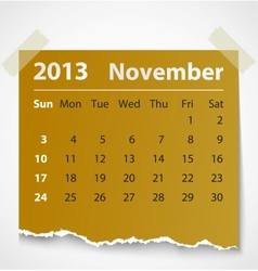 2013 calendar november colorful torn paper vector image
