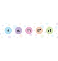 5 glyph icons vector