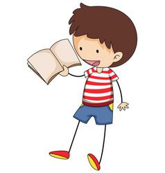A doodle kid reading a book cartoon character vector