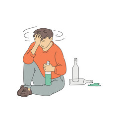 Alcohol addicted man with hangover sketch vector