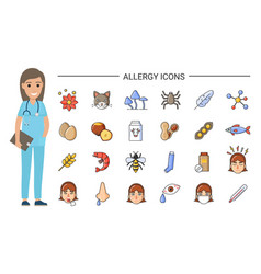 Allergy icons and doctor nurse and treatment vector