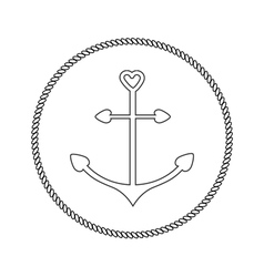 Anchor in shapes of heart Round rope frame label vector