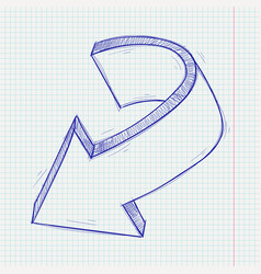 arrow sketch down sign blue hand drawn doodle on vector image
