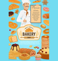 bakery shop pastry cakes and baker man vector image