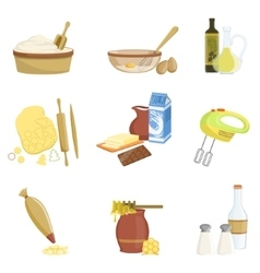 Baking process and kitchen equipment set of vector