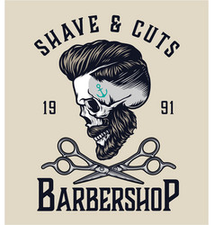 barbershop vintage label vector image