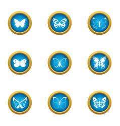 bat icons set flat style vector image