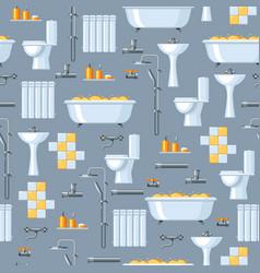 bathroom interior plumbing seamless pattern vector image