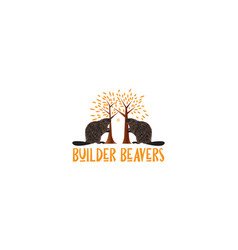 Beaver with home or house or real estate logo vector