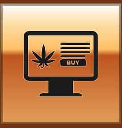black computer monitor and medical marijuana or vector image