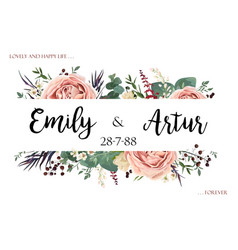 Boho wedding floral invite save the date card vector