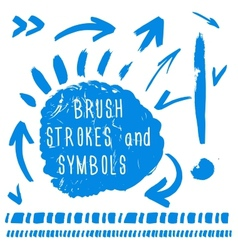 Brush strokes and simbols vector