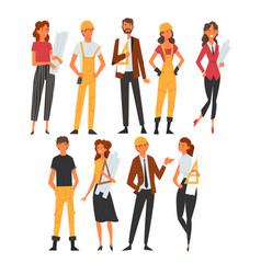 building workers and architects characters set vector image
