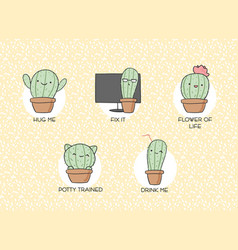 cactus hand-drawn stickers vector image